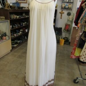 Vintage Beige and Brown Lace Nightgown Set